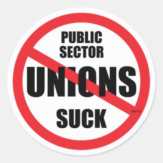 Las uniones del sector público chupan pegatina redonda