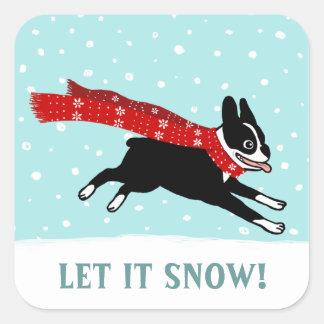 Las vacaciones de invierno Boston Terrier lo Pegatina Cuadrada