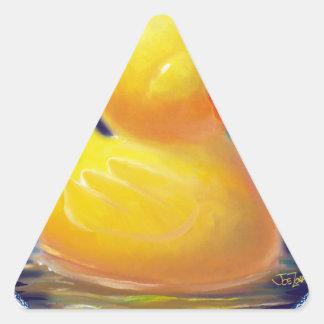 Las vacaciones del pato de goma pegatina triangular