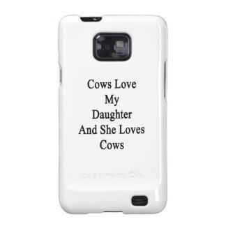 Las vacas aman a mi hija y ella ama vacas samsung galaxy s2 carcasas