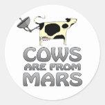 las vacas de estropean etiqueta redonda