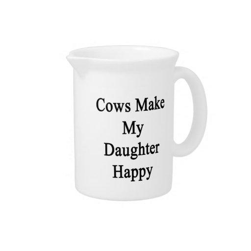 Las vacas hacen a mi hija feliz jarras para bebida