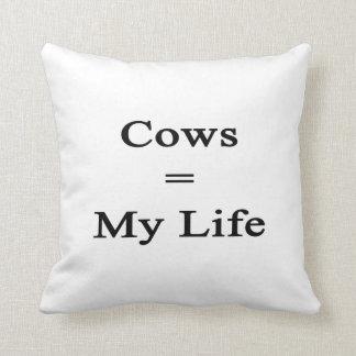 Las vacas igualan mi vida cojín