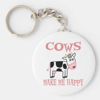 Las vacas me hacen feliz llavero