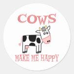 Las vacas me hacen feliz pegatina redonda