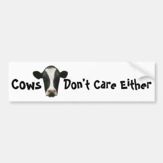 Las vacas no cuidan a cualquier pegatina para el p etiqueta de parachoque