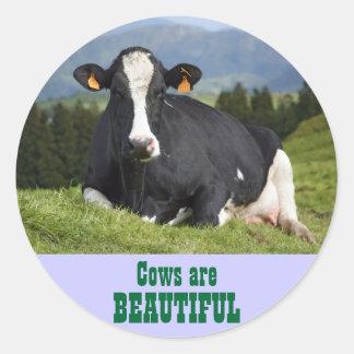 Las vacas son hermosas etiquetas redondas