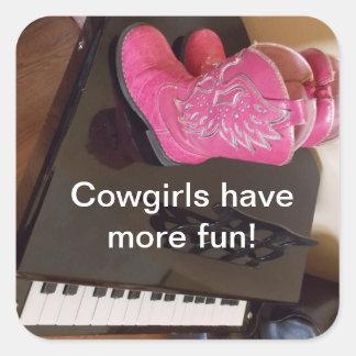 Las vaqueras tienen más pegatinas de la diversión pegatina cuadrada
