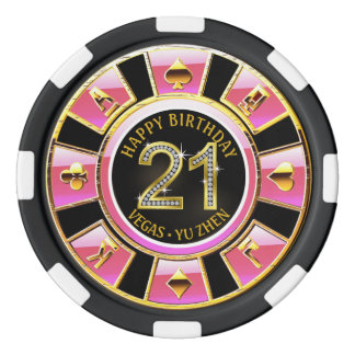Las Vegas 21st Birthday Casino | pink black gold Poker Chip Set