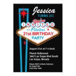 "Las Vegas 21st Birthday Party Invitation 5"" X 7"" Invitation Card"