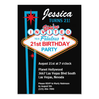 Las Vegas 21st Birthday Party Invitation