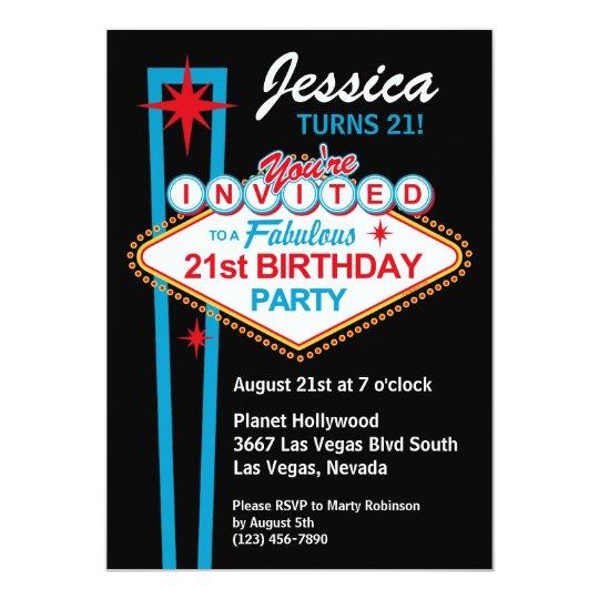 Las Vegas 21st Birthday Party Invitation