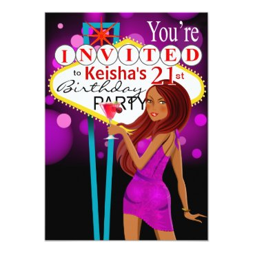 Toddler & Baby themed Las Vegas 21st Birthday Party purple Card