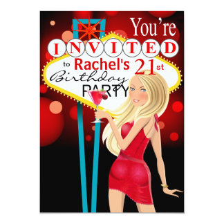 Las Vegas 21st Birthday Party red Card