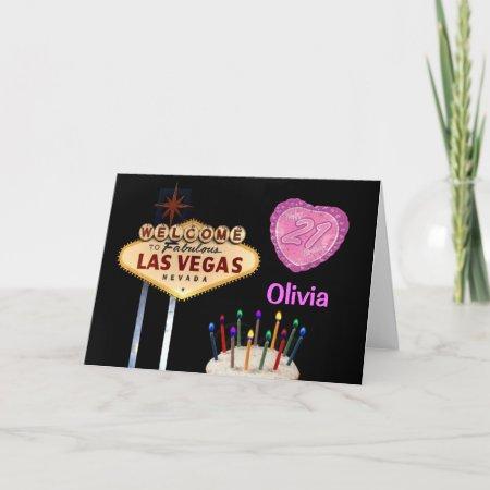 Las Vegas 21st Birthday Pink Heart Balloon Card