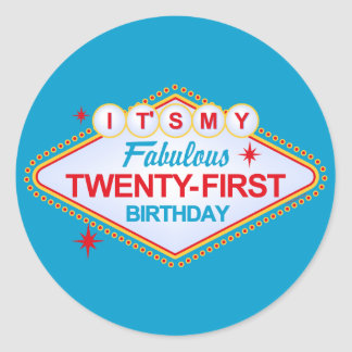 Las Vegas 21st Birthday Classic Round Sticker