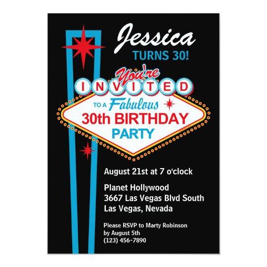Las Vegas 30th Birthday Party Invitation