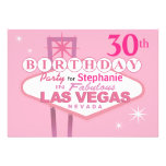 Las Vegas 30th Birthday Party - pink Announcement