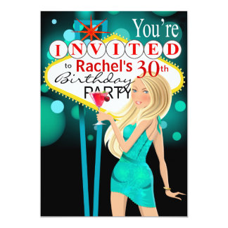 Las Vegas 30th Birthday Party teal Card