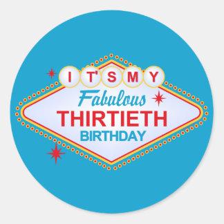 Las Vegas 30th Birthday Round Stickers