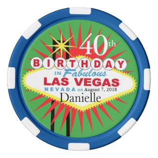 Las Vegas 40th Birthday Casino Chip green blue
