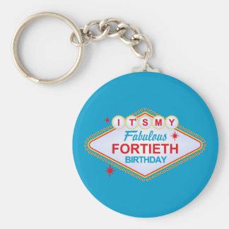 Las Vegas 40th Birthday Basic Round Button Keychain