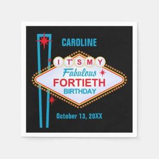 Las Vegas 40th Birthday Paper Napkin