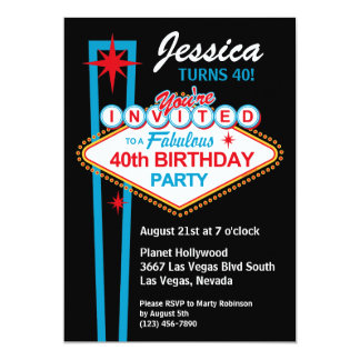 Las Vegas 40th Birthday Party Invitation