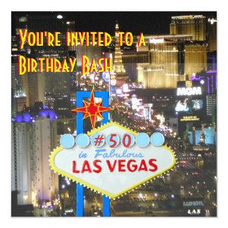 Las Vegas 50th Birthday Party Card