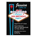 "Las Vegas 50th Birthday Party Invitation 5"" X 7"" Invitation Card"