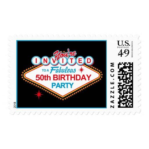 Las Vegas 50th Birthday Party Postage