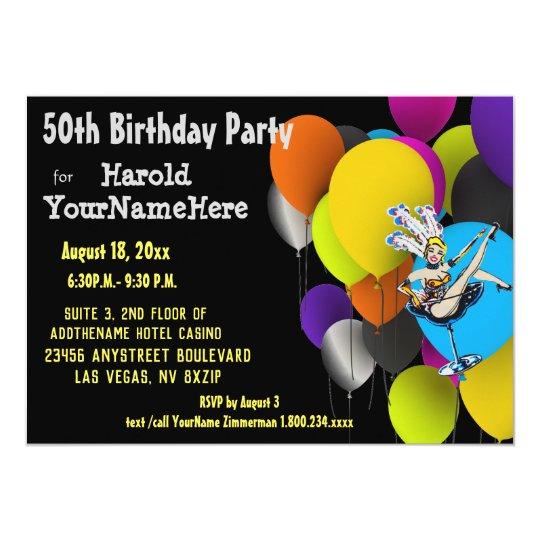 Las Vegas 50th Birthday Party Showgirl Balloons Invitation