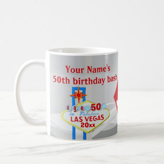 Las Vegas 50th Birthday Party Welcome Sign Dice Coffee Mug