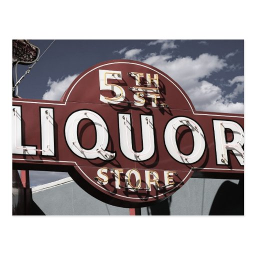 Las Vegas 5th St. Liquor Retro Neon Sign Postcard