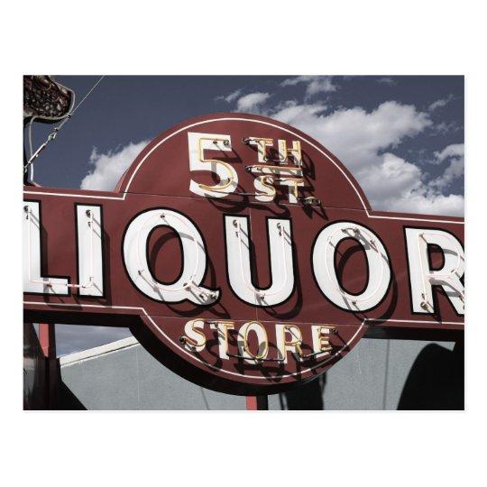 Las Vegas 5th St. Liquor Retro Neon Sign Postcard