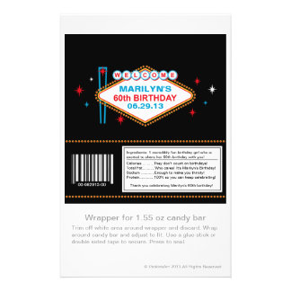 Las Vegas 60th Birthday Candy Wrapper Personalized Flyer