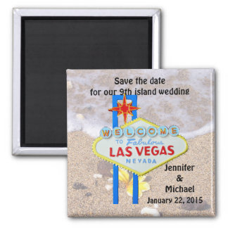 Las Vegas 9th Island Save the Date 2 Inch Square Magnet