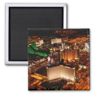 Las Vegas aerial view from a blimp 2 Inch Square Magnet