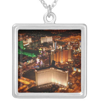 Las Vegas aerial view from a blimp Silver Plated Necklace