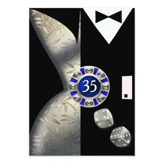 Las Vegas Art Deco 35th Birthday silver black Card
