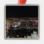 Las Vegas at Night Square Metal Christmas Ornament