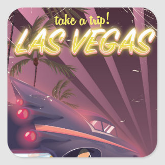 Las Vegas Auto vintage travel poster. Square Sticker
