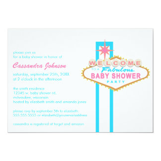 Las Vegas Baby Shower Sign Pink & Blue Invitation