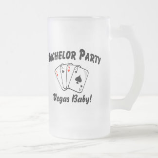 Las Vegas Bachelor Party Frosted Glass Beer Mug