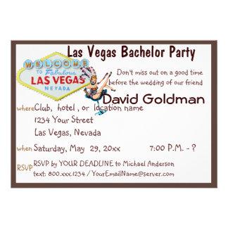 Las Vegas Bachelor Party with Casino Showgirl Custom Invites