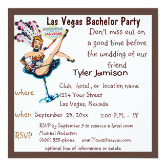 Las Vegas Bachelor Party with Showgirl Art Card