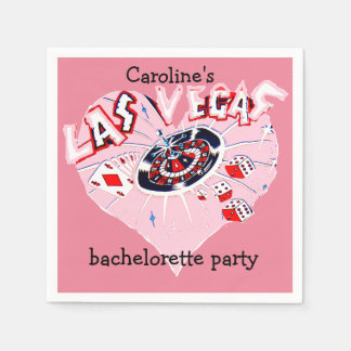 Las Vegas Bachelorette Girly Pink Heart Standard Cocktail Napkin