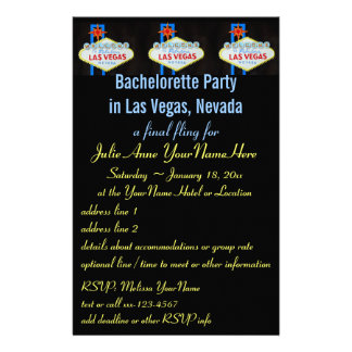 Las Vegas Bachelorette Party Flyer Invitation Stationery