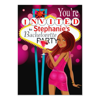Las Vegas Bachelorette Party fuschia Card