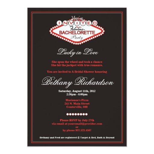 "Las Vegas Bachelorette Party Invitation 5"" X 7"" Invitation Card"